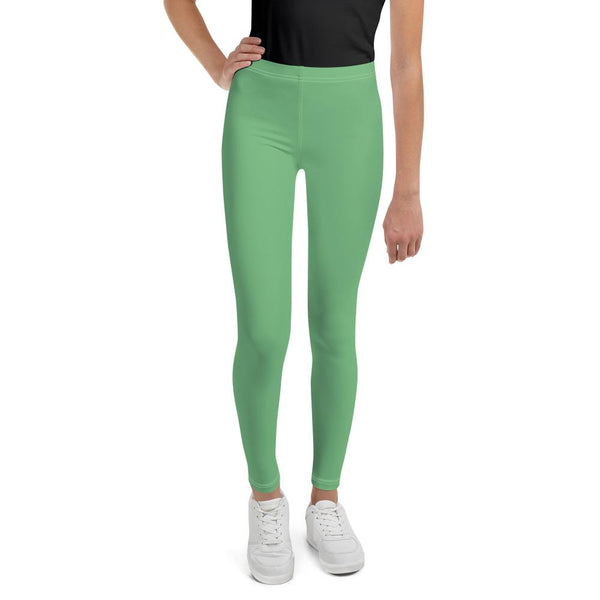 Pastel Green Solid Color Premium Youth Leggings Compression Tights - Made in USA/EU-Youth's Leggings-8-Heidi Kimura Art LLC