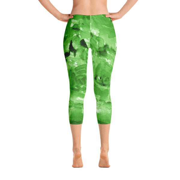 Green Rose Floral Designer Capri Leggings Spandex Tights- Made in USA (US Size: XS-XL)-capri leggings-XS-Heidi Kimura Art LLC