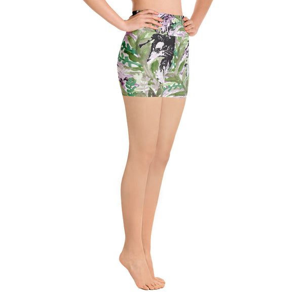 Purple French Lavender Colorful High Waist Floral Wreath Print Women's Yoga Shorts-Yoga Shorts-Heidi Kimura Art LLC