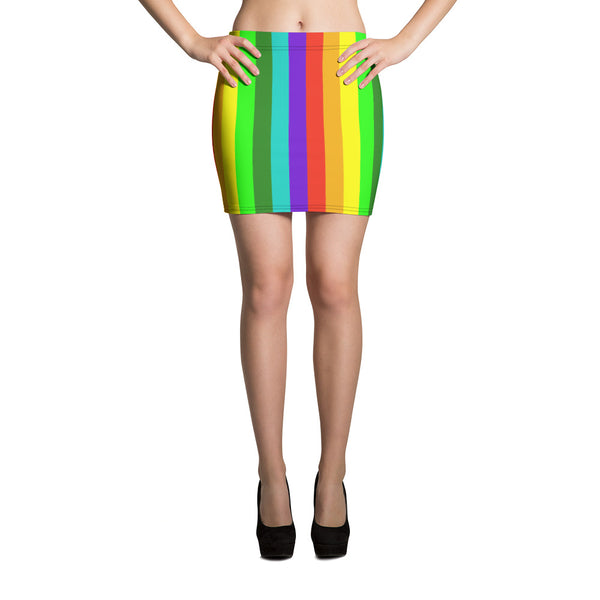 Bari Bright Rainbow Striped Gay Pride Print Alluring Women's Mini Skirt - Made in USA/ EU (US Size XS-XL)