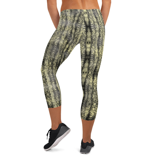 Snake Print Sexy Capri Leggings, Women's Premium Snakeskin Printed Casual Tights-Made in USA/EU-Heidikimurart Limited -Heidi Kimura Art LLC