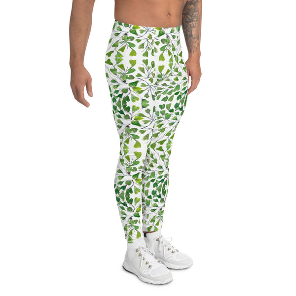 Green Fern Print Men's Leggings, Botanical Leaves Meggings Run Tights-Made in USA/EU-Heidikimurart Limited -Heidi Kimura Art LLC Green Maidenhair Fern Leaf Men's Leggings, White Green Leaves Printed Men's Leggings Tights Pants - Made in USA/EU (US Size: XS-3XL) Sexy Meggings Men's Workout Gym Tights Leggings