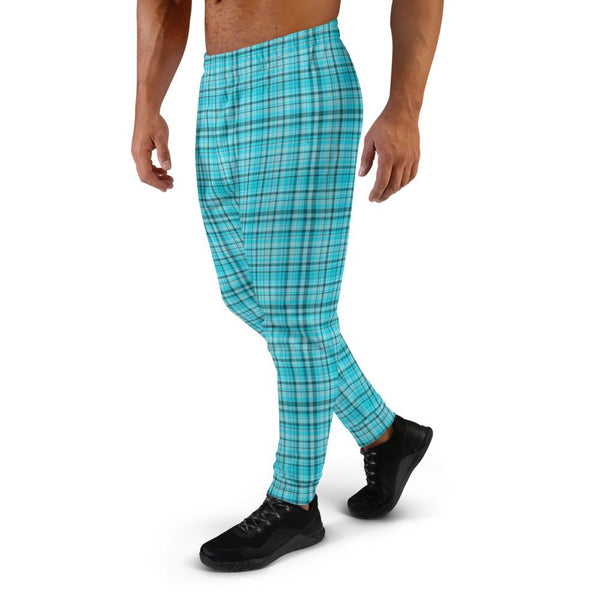 Light Blue Tartan Print Men's Joggers Premium Plaid Print Casual Sweatpants - Made in EU-Men's Joggers-Heidi Kimura Art LLC Light Blue Plaid Men's Joggers, Premium Classic Light Blue Plaid Tartan Print Designer Ultra Soft & Comfortable Men's Joggers, Men's Jogger Pants-Made in EU (US Size: XS-3XL)
