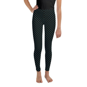 Blue Polka Dots Print Black Premium Youth Leggings Cute Yoga Pants - Made in USA/ EU-Youth's Leggings-8-Heidi Kimura Art LLC
