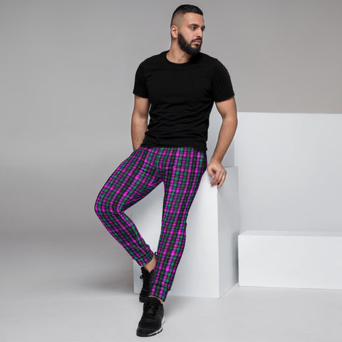 Pink Green Plaid Men's Joggers, Tartan Print Designer Ultra Soft & Comfortable Men's Joggers, Men's Jogger Pants-Made in EU (US Size: XS-3XL)