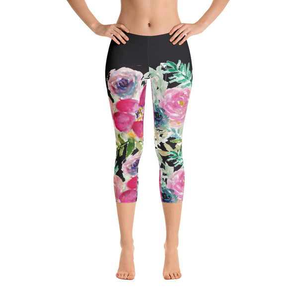 Floral Rose Pattern Women's Fashion Designer Capri Leggings Tights- Made in USA-capri leggings-Heidi Kimura Art LLC