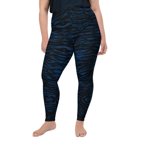 Navy Tiger Plus Size Leggings, Striped Animal Print Women's Long Yoga Pants-Made in USA/EU-Heidi Kimura Art LLC-2XL-Heidi Kimura Art LLC Blue Tiger Plus Size Leggings, Navy Blue & Black Tiger Stripe Animal Print Women's Long Yoga Pants High Waist Plus Size Leggings- Made in USA/EU (US Size: 2XL-6XL)