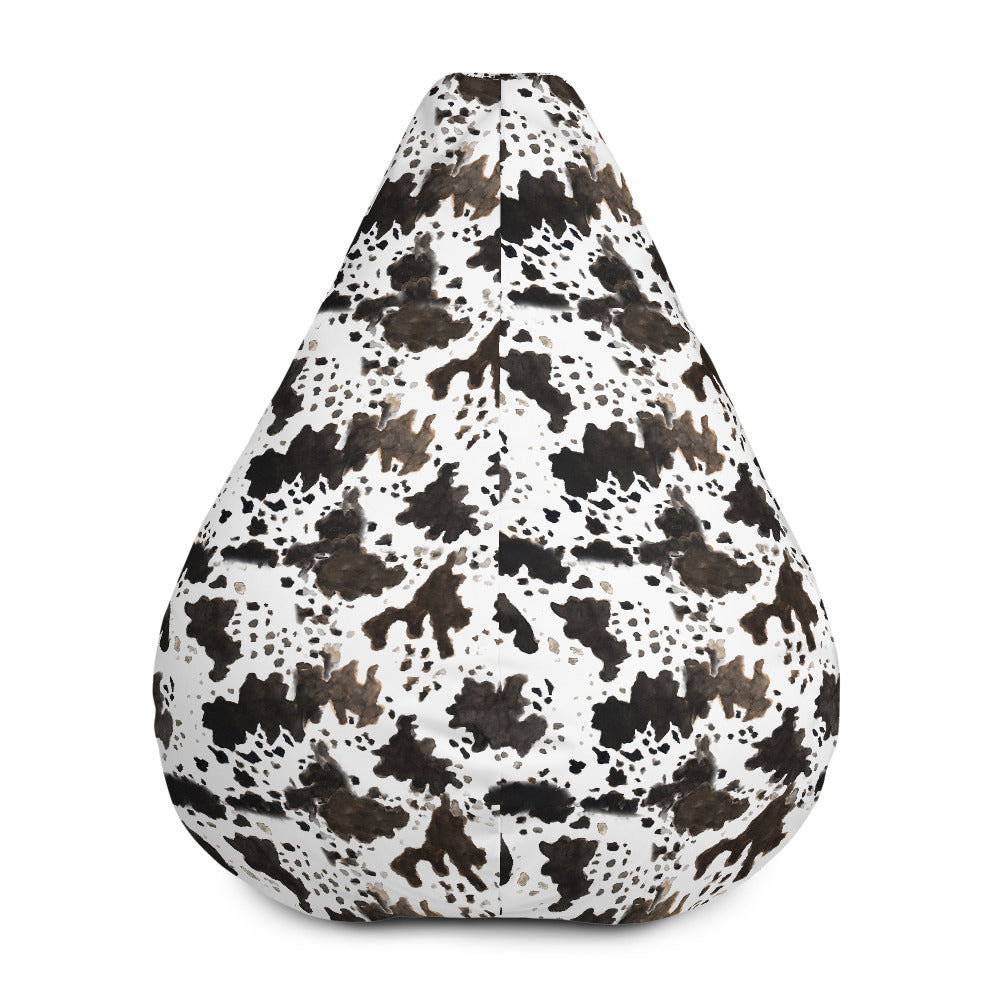Cow Animal Print Water Resistant Polyester Bean Sofa Bag 3.4' Tall - Made in Europe-Bean Bag-Bean Bag w/ Filling-Heidi Kimura Art LLC