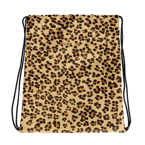 "Brown Leopard Animal Print Designer 15""x17"" Drawstring Bag For Travel- Made in USA/EU-Drawstring Bag-Heidi Kimura Art LLC Brown Leopard Drawstring Bag, Brown Leopard Animal Print Women's 15""x17"" Designer Premium Quality Best Drawstring Bag For Travel or School -Made in USA/Europe"