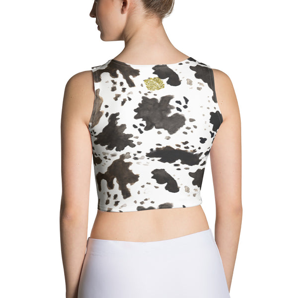 772457839ded3 ... Cow Print Animal Stretchy Crew Neck Cut   Sew Women s Fitted Crop Top  Sleeveless