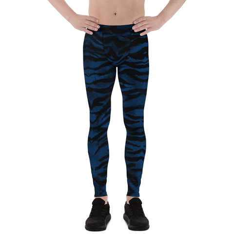 Navy Blue Tiger Men's Leggings, Striped Animal Print Men Tights-Made in USA/EU-Heidi Kimura Art LLC-XS-Heidi Kimura Art LLC Navy Blue Tiger Meggings, Blue Tiger Stripe Meggings, Blue and Black Tiger Stripe Animal Print Men's Yoga Pants Running Leggings & Tights- Made in USA/ Europe (US Size: XS-3XL) Tiger Leggings, Tiger Stripe Pants, Tiger Stripe Mens Running Fitness Tight Leggings, Meggings, Tiger Stripe Leggings, Tiger Workout Leggings, Tiger Stripe Print Leggings