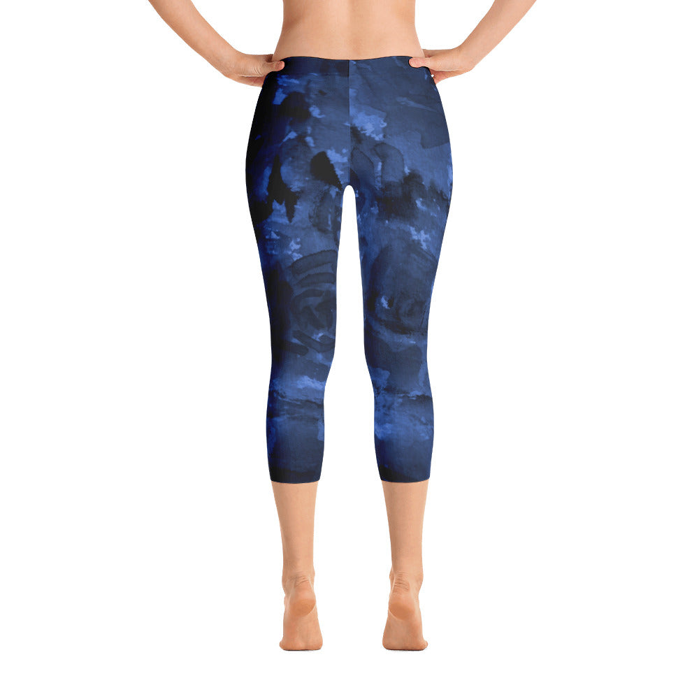 Calming Blue Rose Floral Designer Capri Leggings Spandex Tight Pants - Made in USA/EU-capri leggings-XS-Heidi Kimura Art LLC