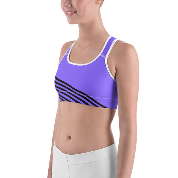 Lavender Purple Diagonal Striped Print Sports Bra-Made in USA (Size: XS-2XL)-Sports Bras-Heidi Kimura Art LLC Purple Striped Sports Bra, Lavender Purple Diagonal Striped Yoga Sports Fitness Moisture-wicking Stretchy Elastic Polyester Spandex Bra - Made in USA/EU (Size: XS-2XL)