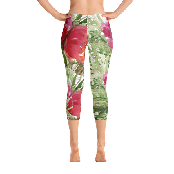 Orange Red Rose Floral Print Designer Capri Leggings Casual Outfit - Made in USA-capri leggings-XS-Heidi Kimura Art LLC