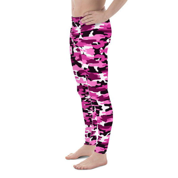 Pink Camo Print Men's Leggings, Purple Pink Camo Camouflage Military Army Abstract Print Sexy Meggings Men's Workout Gym Tights Leggings, Costume Rave Party Fashion Compression Tight Pants - Made in USA/ EU (US Size: XS-3XL)
