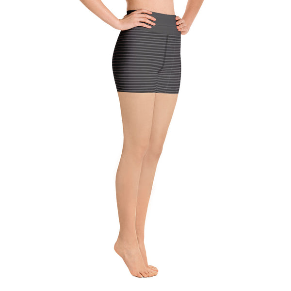 Black White Striped Yoga Shorts, Classic Modern Women's Short Tights-Made in USA/EU-Heidikimurart Limited -Heidi Kimura Art LLC Black White Striped Yoga Shorts, Classic Modern Horizontally Stripes Printed Premium Quality Women's High Waist Spandex Fitness Workout Yoga Shorts, Yoga Tights, Fashion Gym Quick Drying Short Pants With Pockets - Made in USA/EU/MX (US Size: XS-XL)