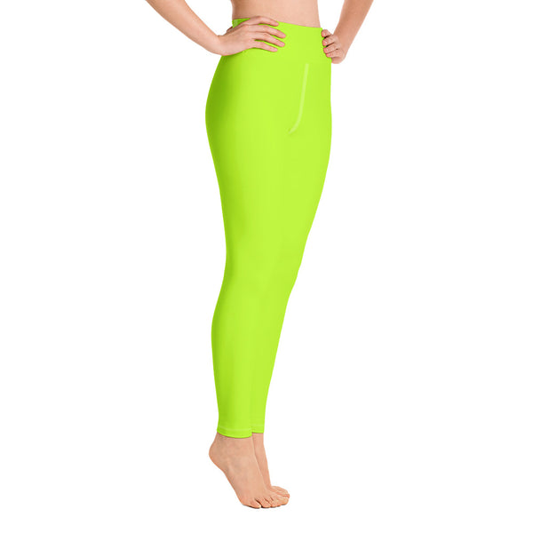 Women's Neon Green Solid Color Active Wear Fitted Leggings Sports Long Yoga Pants-Leggings-Heidi Kimura Art LLC Neon Green Women's Leggings, Women's Neon Green Solid Color Active Wear Fitted Sports Leggings Sports Long Yoga & Barre Pants - Made in USA/EU (US Size: XS-6XL)