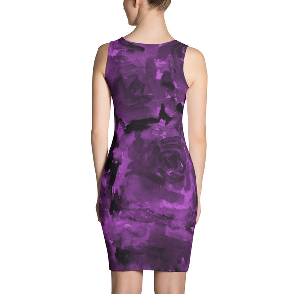 Royal Purple Rose Floral Print Women's Long Sleeveless Designer Dress - Made in USA/EU-Women's Sleeveless Dress-Heidi Kimura Art LLC