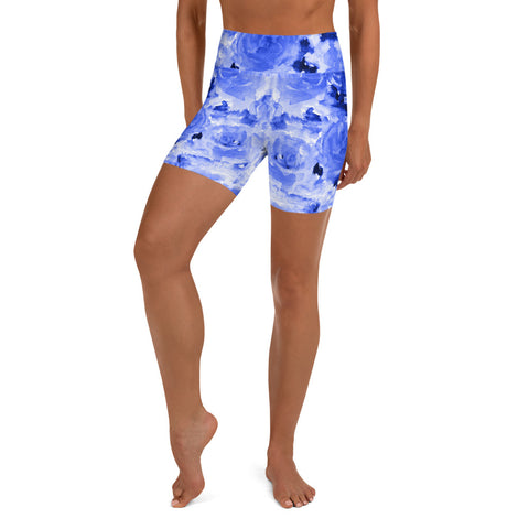 Blue Floral Yoga Shorts, Rose Floral Yoga Tights, Abstract Print Classic Premium Quality Women's High Waist Spandex Fitness Workout Yoga Shorts, Yoga Tights, Fashion Gym Quick Drying Short Pants With Pockets - Made in USA/EU (US Size: XS-XL)