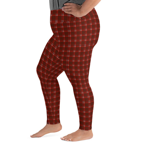 Red Plaid Plus Size Leggings, Dark Red Tartan Classic Women's Yoga Tights-Made in USA/EU-Heidi Kimura Art LLC-Heidi Kimura Art LLC Red Plaid Plus Size Leggings, Dark Red Tartan Classic Traditional Designer Women's Leggings Plus Size, Women's Yoga Pants Long Plus Size Leggings - Made in USA/EU (US Size: 2XL-6XL)