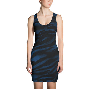 Rika 1-pc Royal Navy Blue Black Women's Tiger Striped Animal Print Dress-Made in USA,Blue Tiger Stripe Tigers Print Dress,Navy Blue Dress  Rika 1-pc Royal Navy Blue Black Women's Tiger Striped Animal Print Dress- Made in USA/ Europe (US Size: XS-XL) Rika 1-pc Navy Blue Black Women's Tiger Striped Animal Print Dress- Made in USA/ Europe