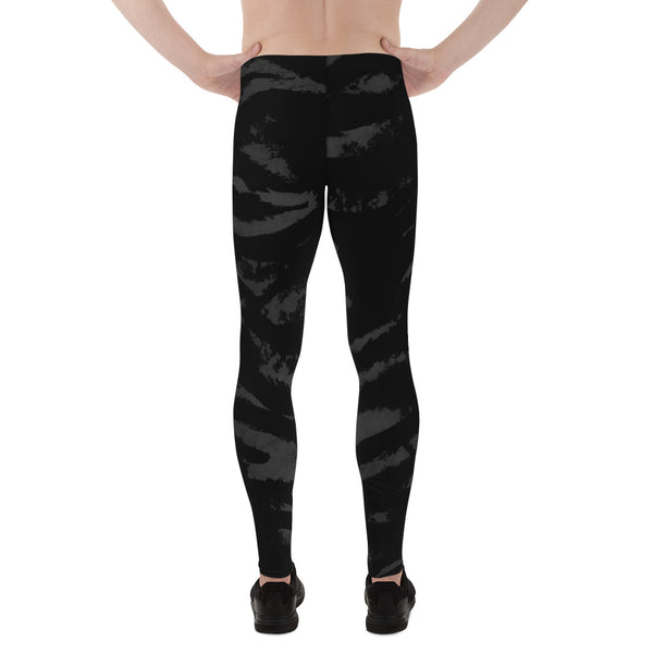 Black Tiger Stripe Print Meggings, Men's Running Leggings Run Tights- Made in USA/EU-Men's Leggings-Heidi Kimura Art LLC
