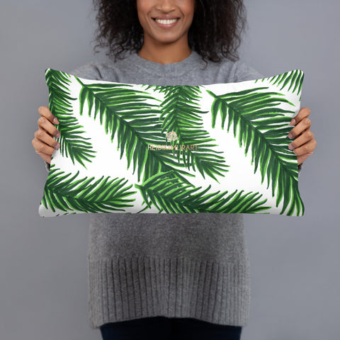 "Green White Tropical Palm Leaf Print 20""x12"", 18""x18"" Basic Pillow Case - Made in USA-Pillow-Heidi Kimura Art LLC"