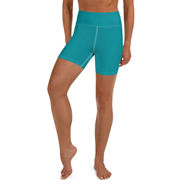 Teal Blue Solid Color Premium Quality Fitness Workout Yoga Shorts- Made in USA-Yoga Shorts-XS-Heidi Kimura Art LLC Teal Blue Yoga Shorts, Teal Blue Solid Color Premium Quality Women's High Waist Spandex Fitness Workout Yoga Shorts, Yoga Tights, Fashion Gym Quick Drying Short Pants With Pockets - Made in USA/EU (US Size: XS-XL)