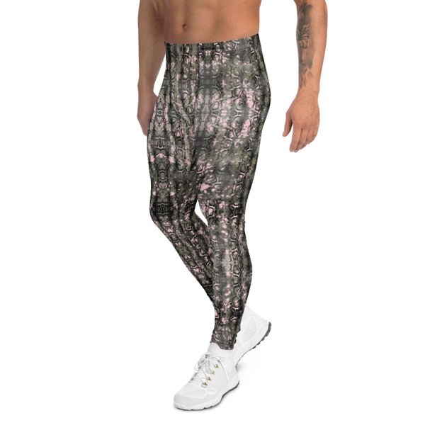 Green Snakeskin Print Men's Leggings, Snake Reptile Print Meggings Tights-Heidikimurart Limited -Heidi Kimura Art LLC