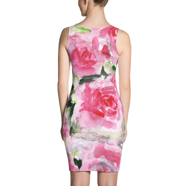 Girlie Pink Rose Floral Print Women's Premium Quality Long Sleeveless Dress - Made in USA-Women's Sleeveless Dress-Heidi Kimura Art LLC