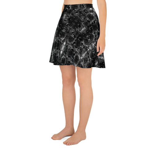 Gray Rose Floral Skater Skirt, Floral Print High-Waisted Mid-Thigh Women's Tennis A-Line Skater Skirt, Plus Size Available - Made in USA/EU (US Size: XS-3XL)