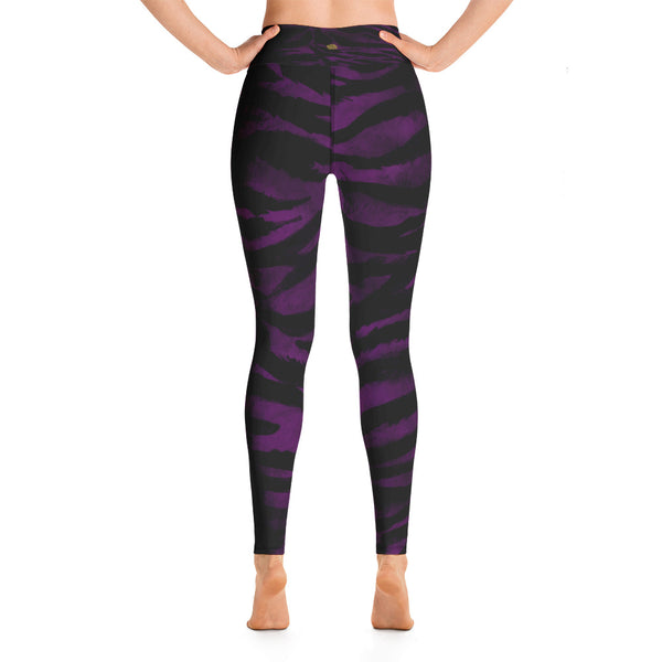 Purple Tiger Striped Women's Leggings, Animal Print Sports Long Yoga Pants- Made in USA/EU-Leggings-Heidi Kimura Art LLC Purple Tiger Women's Leggings, Purple Animal Tiger Striped Workout Fitted Women's Leggings Sports Long Yoga Pants With Pockets - Made in USA/EU (US Size: XS-XL)