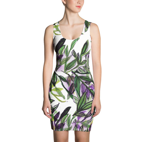 Green Floral Tropical Palm Leaf Print Sleeveless Women's Designer Dress - Made in USA-Women's Sleeveless Dress-XS-Heidi Kimura Art LLC