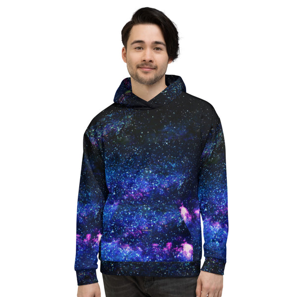 Blue Galaxy Space Print Women's Unisex Hoodie- Made in Europe (US Size: XS-3XL)-Women's Hoodie-Heidi Kimura Art LLC