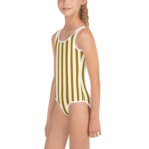 Brown Vertical Stripe Print Cute Kids Girl's Swimsuit Sports Swimwear- Made in USA-Kid's Swimsuit (Girls)-Heidi Kimura Art LLC