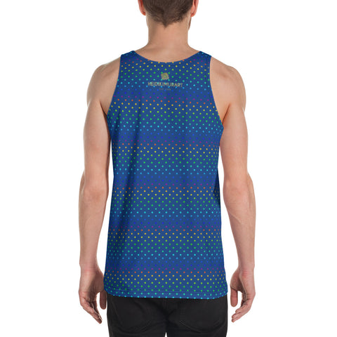 Navy Blue Polka Dots Rainbow Gay Pride Men's Premium Unisex Tank Top- Made in USA-Men's Tank Top-Heidi Kimura Art LLC