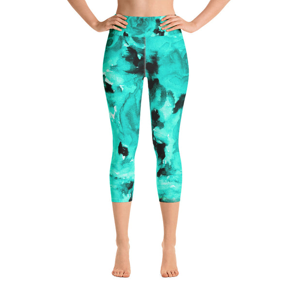 Turquoise Blue Floral Print Capri Leggings, Rose Print Women's Pants -Made in USA/ EU-Capri Yoga Pants-XS-Heidi Kimura Art LLC