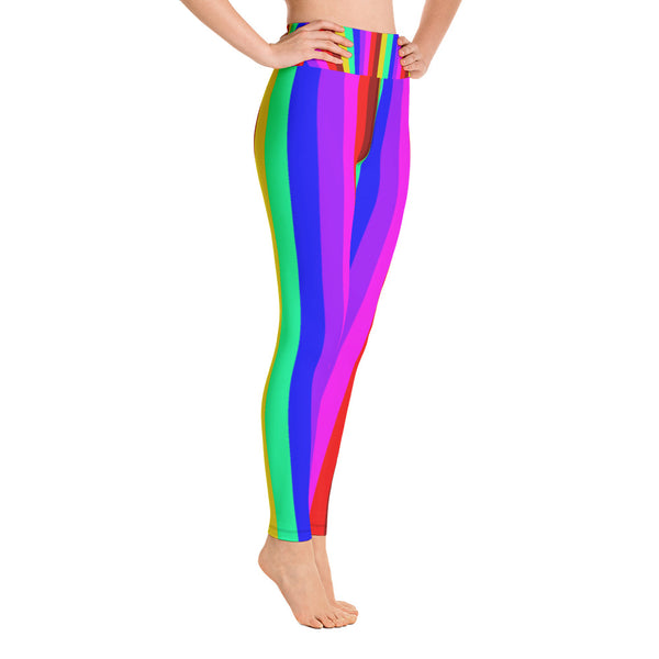 Women's Rainbow Gay Pride Parade Gym Active Fitted Leggings Sports Yoga Pants-Leggings-Heidi Kimura Art LLC