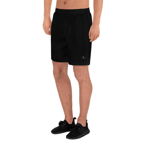 Black Solid Color Premium Men's Athletic Long Shorts- Made in Europe (US Size: XS-3XL)-Men's Long Shorts-Heidi Kimura Art LLC Black Men's Shorts, Black Solid Color Print Premium Quality Men's Athletic Long Fashion Shorts (US Size: XS-3XL) Made in Europe