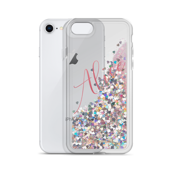 Pink Foil Custom Name Designer Shiny Liquid Glitter Phone Case-Made in USA-Phone Case-Pink-iPhone 7/8-Heidi Kimura Art LLC