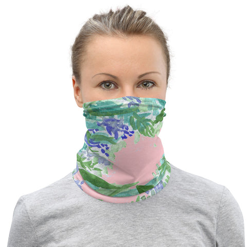 Pink Lavender Neck Gaiter, Floral Print Bandana Face Covering-Made in USA/EU-Heidi Kimura Art LLC-Heidi Kimura Art LLCPink Lavender Neck Gaiter, Floral Print Soft Elegant Luxury Premium Quality Cool And Cute One-Size Reusable Washable Scarf Headband Bandana - Made in USA/EU, Face Neck Warmers, Non-Medical Breathable Face Covers, Neck Gaiters For Women