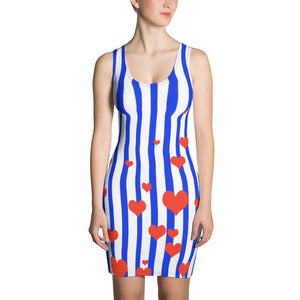 Blue Striped Women's Dress American Patriotic Flag Inspired Designer Dress - Made in USA-Women's Sleeveless Dress-XS-Heidi Kimura Art LLC