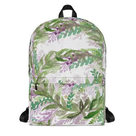 "White French Lavender Floral Print Women's Premium Backpack-Made in USA/EU--Heidi Kimura Art LLCWhite French Lavender Backpack, Best Floral Print Designer Medium Size (Fits 15"" Laptop) Water Resistant College Unisex Backpack for Travel/ School/ Work - Made in USA/ Europe"