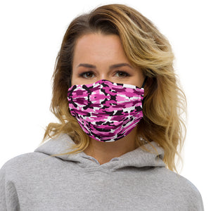 Pink Camo Premium Face Mask, Army Military Print Designer Non-Medical Face Covering-Heidikimurart Limited -Black-Heidi Kimura Art LLC