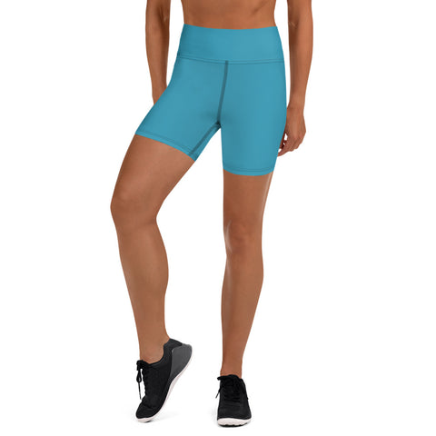Blue Green Women's Yoga Shorts, Solid Color Elastic Tights-Made in USA/EU-Heidi Kimura Art LLC-XS-Heidi Kimura Art LLC Peach Pink Women's Yoga Shorts, Pink Solid Color Premium Quality Women's High Waist Spandex Fitness Workout Yoga Shorts, Yoga Tights, Fashion Gym Quick Drying Short Pants With Pockets - Made in USA/EU (US Size: XS-XL)