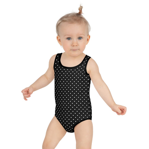 Black Dotted Kids Swimsuit, White Polka Dots Classic Girl's Swimwear-Made in USA/EU-Heidi Kimura Art LLC-2T-Heidi Kimura Art LLC Black Dotted Kids Swimsuit, Black And White Polka Dots Classic Girl's Swimwear- Made in USA/EU (US Size: 2T-7) Girl's Cute Premium Kids Swimsuit Bathing Suit
