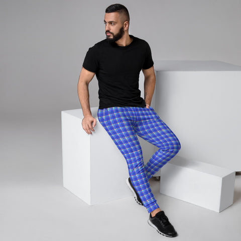 Pastel Blue Plaid Men's Joggers, Tartan Print Designer Ultra Soft & Comfortable Men's Joggers, Men's Jogger Pants-Made in EU (US Size: XS-3XL)