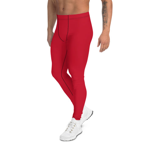 Red Solid Color Men's Leggings, Modern Meggings Compression Run Tights-Made in USA/EU-Heidi Kimura Art LLC-Heidi Kimura Art LLC Red Meggings, Bright Red Solid Color Print Premium Classic Elastic Comfy Men's Leggings Fitted Tights Pants - Made in USA/EU (US Size: XS-3XL) Spandex Meggings Men's Workout Gym Tights Leggings, Compression Tights, Kinky Fetish Men Pants