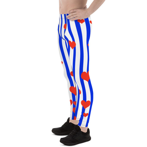 Patriotic American Flag Striped Men's Meggings Activewear Leggings- Made in USA/EU-Men's Leggings-Heidi Kimura Art LLC