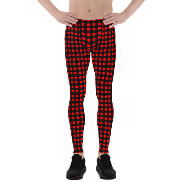 Buffalo Red Plaid Meggings, Buffalo Print Men's Leggings Compression Tights-Made in USA-Men's Leggings-Heidi Kimura Art LLC